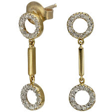 Dangling Earrings In 14k Gold With Circular Earrings Design And Diamond Accents