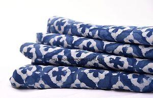 5 yards Indigo Dye voile cotton fabric hand block print geometric design fabric