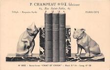 CPA 75 PARIS XIe P.CHAMPEAU FABRICANT 63 RUE SAINT SABIN SERRE LIVRES CHAT ET CH