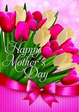 """New listing Happy Mothers Day Tulip Flower House Flag Large 40"""" x 28"""""""