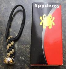 "NEW Spyderco BEAD3LY 1/2"" Round Rhodium & 18k Gold Bug Bead Paracord Lanyard"