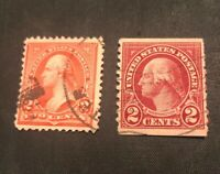 Two RARE George Washington 2 Cents RED Postage Stamps - Two Cent USPS Stamp