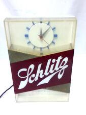 Schlitz lighted clock beer sign blue moon 1959 Vtg bar light shelf topper Mq61