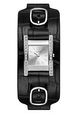 GUESS Womens Stainless Steel Watch, Black Leather Cuff Band, Glitz Crystals