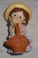 """Tender Times Figurine 4.5"""" Girl Kitten Easter Basket Resin Child Vintage"""