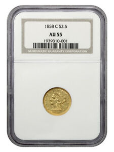 1858-C $2 1/2 NGC AU55 - Popular Branch Mint Gold - 2.50 Liberty Gold Coin