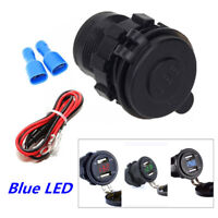 Universal Dual USB ATV Motorcycle Charger 4.2A Blue Digital Voltage Voltmeter 1x