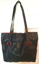 Vtg Womens XL Navy Blue Red Leather Tote Shoulder Bag Travel Overnight Shopper