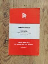 More details for london welsh v bridgend feb 1980 signed rugby programme
