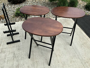 Set 3 Oval Solid Wood Folding TV Trays Tables + Stand Vintage Rustic Amish Snack