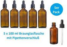 5 x Braunglasflasche 100 ml Apothekerflasche mit Pipette Pipettenverschluß