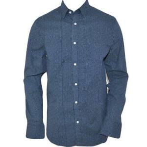Camicia uomo cotone blu collo rigido manica lunga motivo astratto blu notte chiu