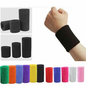 2x Wrist Sweatbands Athletic Cotton Terry Cloth Wristbands Gym Basketball Sport