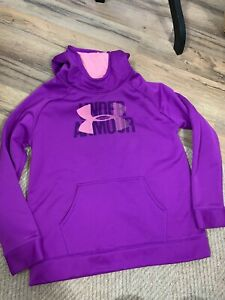 Under Armour Girls Sweater Hooded Youth XL Loose Purple