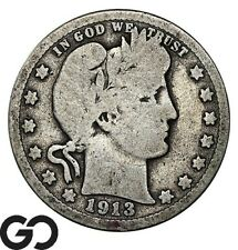 1913 Barber Quarter, Scarce Date