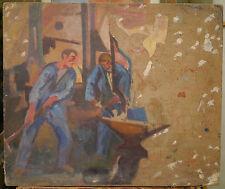 Quadro Olio Antico Atelier Incudine Del Fabbro PIETRA JULES TAGLIENTI 1910/1920