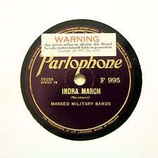 """MASSED MILITARY BANDS """"Indra March / Distant Greeting"""" PARLOPHONE F-995 [78 RPM]"""