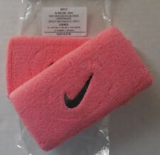 """NIKE Swoosh 5"""" Wristband Doublewide Bright Melon/Cool Grey Set of 2 New"""