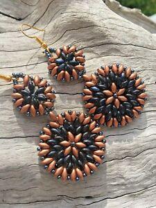 Boho Handmade Mandala Beadwork Drop Dangle Midnight Blue Copper Earrings
