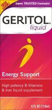 2 Pack Geritol Liquid Energy Support B-Vitamins & Iron Supplement 4 Oz Each