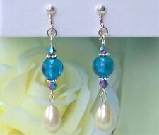 "FREE SHIP Pearl Teal Silver Foil & Crystal Bead CLIP ON Earrings 2.7"" Dangle"