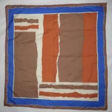 SCARF Square OROTON Logo Neck Head Tie Tan Dusty Blue DESIGNER CLASSIC Vintage