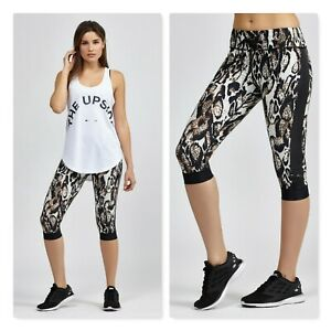 THE UPSIDE   Womens owl leopard power Capri Tights [ Size M or AU 12 / US 8 ]