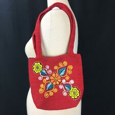 Boho Floral Embroidered Clutch Purse Red
