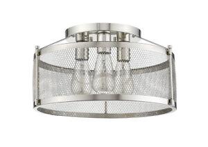"Chrome Semi-Flush 3 Lights Ceiling 9"" H Industrial silver Screen Fixture New!"