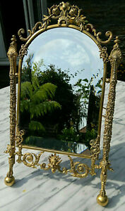 "Early 20thC French Empire Gothic Gilt Table/Wall Mirror Bevelled Glass 16""x 9.5"""