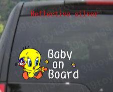 "Tweety Bird ""BABY ON BOARD"" Vinyl funny  Car window  Decal Sticker / reflective"