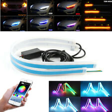 2x 30CM RGB LED Car Headlight Daytime Running Light Strip Decoration Phone APP