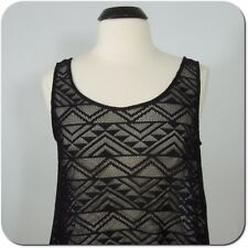 DIVIDED BY H & M Woman's Black Open Stitch Tank Top, size L