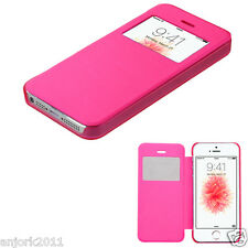 FOR iPhone 5 / 5S / SE FOLIO FLIP POUCH CASE W/ VIEWING WINDOW COVER HOT PINK