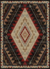 Dakota Area Rug Runner Lodge Cabin Rustic Native Arrow Black Red Beige Matching