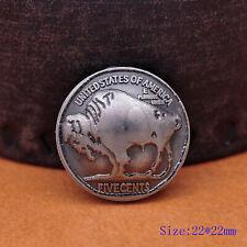 5pc 22MM Western Buffalo Nickel Head Leathercraft Coin Belt Conchos Rivet Back