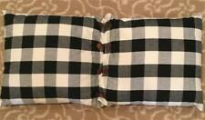 """Pair of Black And Crème Check Throw Pillows 18"""" x 16"""""""