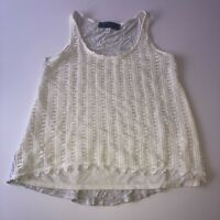 Women's Tank Top Blouse Sleeveless Lace Crochet White Gray Size Small High-Low