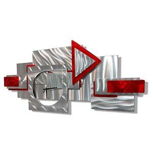 AMAZING! Metal Wall Art Clock - Modern Silver Red Abstract Design  By Jon Allen