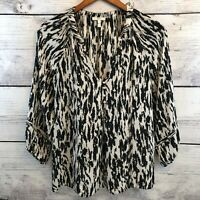 Joie Silk Blouse Womens XS Black and White 3/4 Sleeves Button Front Loose Boho