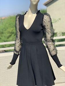Irregular Sandro Knitted Dress with Organza Sleeve