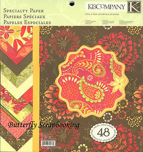 Simply Scarlet Specialty 12X12 Scrapbooking Paper Pad K&Company 48 Sheets NEW