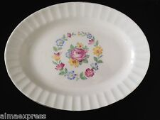 """Edwin Knowles China Rose & Circle of Flowers w/ Gold 12"""" OVAL SERVING PLATTER"""