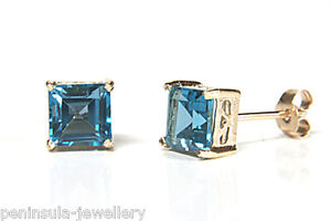 9ct Gold London Blue Topaz Studs Square earrings Gift Boxed Made in UK