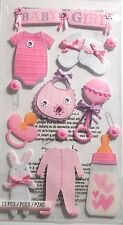 JOLEE'S BOUTIQUE LE GRANDE BABY GIRL Bib Bottle Pink Scrapbook Craft Sticker