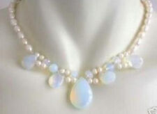 Blue Fire Opal and Fresh Water Pearl Cluster Necklace 17''