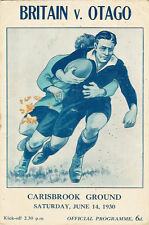 BRITISH LIONS v OTAGO 14 Jun 1930 RUGBY PROGRAMME at DUNEDIN