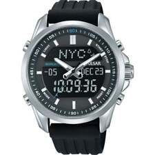 Pulsar Dual Display World Time Chronograph Gents Watch Chrome Black