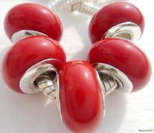5PCS Silver Single Core Murano Lamp Glass Beads fit European Charm Bracelet A099