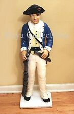"""Vintage Painted Concrete Continental Soldier Lawn Statue Americana 40"""" Tall"""
